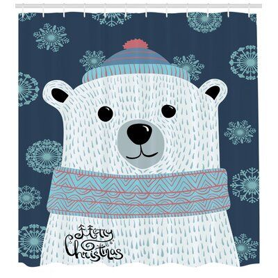 East Urban Home Polar Bear Shower Curtain Set Hooks Shower