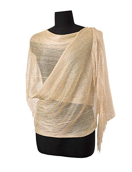 c991a797d9baa MissShorthair Womens Wedding Evening Wrap Shawl Glitter Metallic Prom Party  Scarf with Fringe(Champagne Gold)