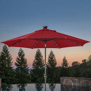 Proshade 10 Led Solar Auto Tilt Aluminum Umbrella Outdoor Patio Umbrellas