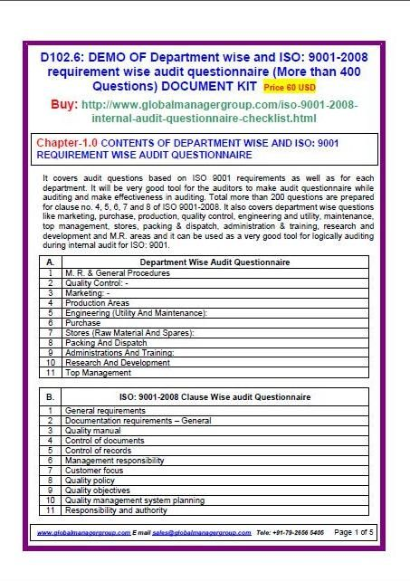 Iso 90012008 audit checklist for quality management system iso 90012008 audit checklist for quality management system certification contains department wise as well as requirement wise audit questionnaire pronofoot35fo Images