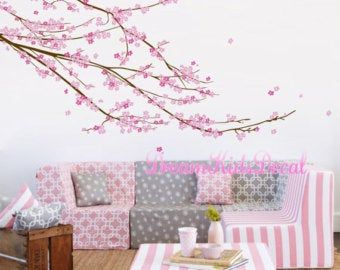 Wall Decal Charming Pink Blossom Tree Cherry Blossom Tree Etsy Nursery Wall Decals Girl Vinyl Tree Wall Decal Nursery Wall Decals