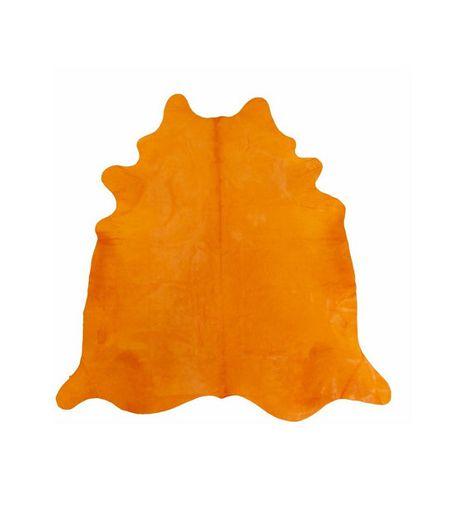 Alfombra Piel de Vaca Estampado Naranja Zanahoria por PuraSpain