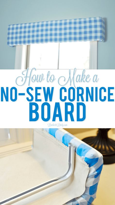 How to Make a No-Sew Cornice Board This tutorial on how to make a no-sew styrofoam cornice board is such an easy DIY project - looks so cute in a bedroom/nursery and is as easy as gluing and taping a few things in place! Home Diy, Diy Window Treatments, Diy Window, Cornice Board, Diy Curtains, Easy Home Decor, Diy Home Decor, Window Valance Diy, Home Decor