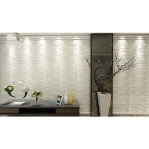 Art3d 19 7 In X 19 7 In Decorative Pvc 3d Wall Panels Wavy Wall Design 12 Pack A10037 The Home Depot 3d Wall Panels Wall Design Corrugated Wall