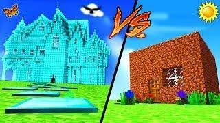 Minecraft Diamond House Vs Dirt House Minecraft Houses Minecraft Tutorial Water House