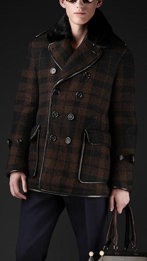 Burberry brown plaid coat
