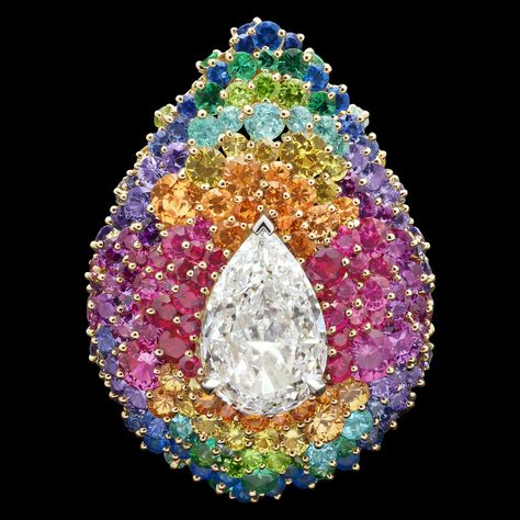 Collection Dear Dior / FINE JEWELRY/ Dior official website--Ring in 18K yellow gold, diamonds, pink sapphires, purple sapphires, spessartine garnets, red spinels, sapphires, hauynes, yellow sapphires, emeralds, Paraiba tourmalines and demantoid garnets--Holy yes please!!