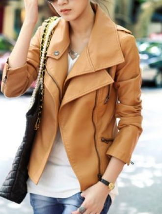Light Brown Leather Coat looks comfy and stylish!