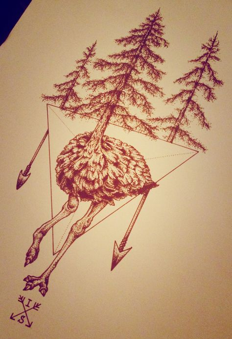 Ostrich with pines - dotwork tattoo design