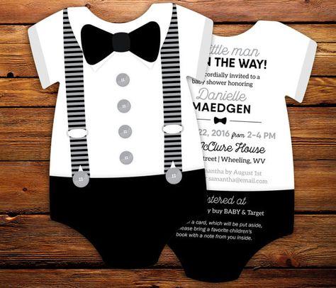 10 Black tie Baby Shower Invitations Black & by LittleBeesGraphics