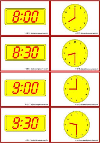 Timetable Schedule Digital And Analogue Clock Cards