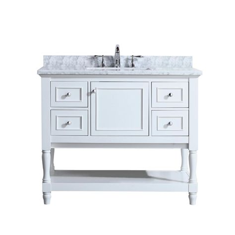 Ari Kitchen And Bath Cape Cod 42 In Single Bath Vanity In White With Marble Vanity Top In Carrara White With White Basin Marble Vanity Tops Kitchen Bath Bath