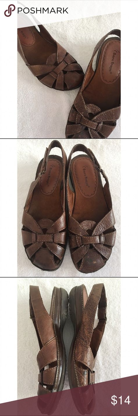 Bare Traps Leather Sandals This pair of Bare Traps Leather Sandals are a size 6 and have a Velcro closure strap.  Very comfy they show some signs of wear as seen in the pictures but in good condition Bare traps Shoes Sandals