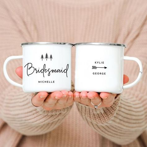 *Get 20% OFF when you buy 5 items or more, and 25% OFF 12 items or more* Bridesmaid Mugs Camp Mugs Bridesmaid Camping Mugs Woodland Wedding Forest Bridal Party Mugs Mountain Wedding // ONE Mug Features: -Double sided print -Size: 10 oz. -Material: Metal, Stainless Steel, Sublimation Coated White