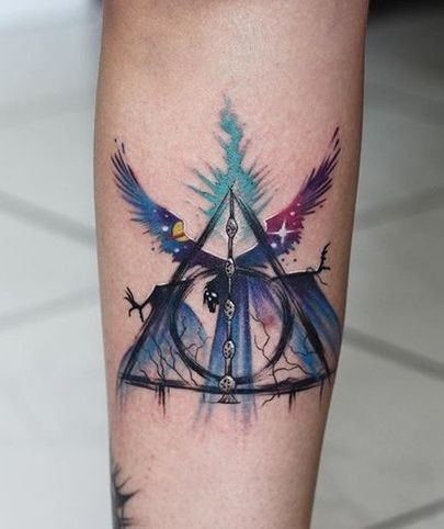Top 15 Irresistible Deathly Hallows Tattoo Designs Styles At Life Harry Potter Tattoos Tattoos For Guys Tattoos