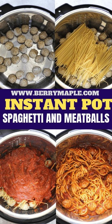 Easy pasta recipe, Instant pot spaghetti with meatballs in sauce. Frozen or fres… Easy pasta recipe, Instant pot spaghetti with meatballs in sauce. Frozen or fresh meatballs with delicious noodles- a quick dinner for your whole family! Instant Pot Pasta Recipe, Best Instant Pot Recipe, Instant Recipes, Instant Pot Dinner Recipes, Easy Pasta Recipes, Easy Meals, Healthy Recipes, Instant Pot Pressure Cooker, Pressure Cooker Recipes