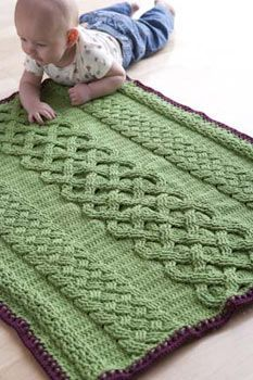 Crochet braided Blanket ~ pattern available  Crocheted cables make me nervous so if I tried this one I'd have to knit it on a circular needle instead of crocheting.