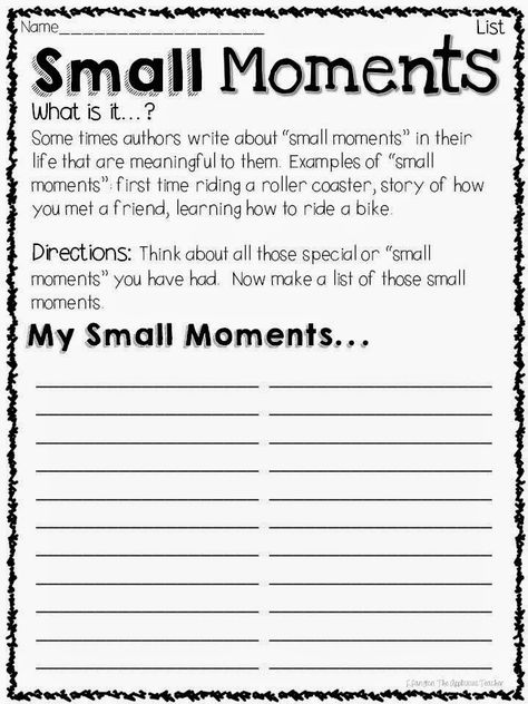 Small Moments for BIG Impact in Writings                              …