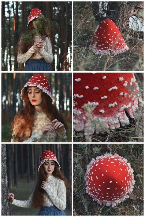 Red mushroom costume hat for adults - on Etsy, Folk festival hat inspired by fairytales and nature world beauty, Boho headdress for those who loves woodland style and believes in fairies. #costumehat #mushroomcostume #mushroomhat #flyagarichat #fairyhat #fantasyhat