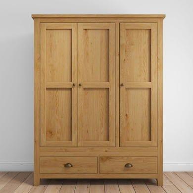 Solid Oak 3 Door 2 Drawer Wardrobe