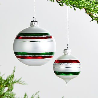 Striped Ornaments Crate And Barrel Ornaments Christmas Bulbs