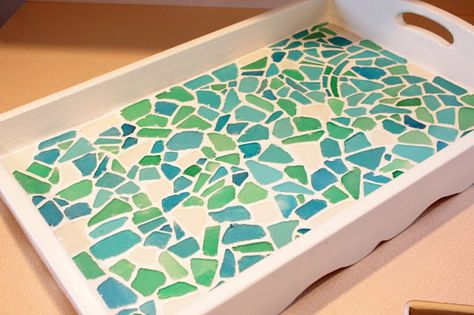 Sea Glass Tray With Images Mosaic Tray Sea Glass Mosaic