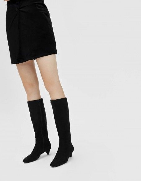Black Kitten Heel Knee Boots Charles Keith Black Kitten Heels Boots Shoes