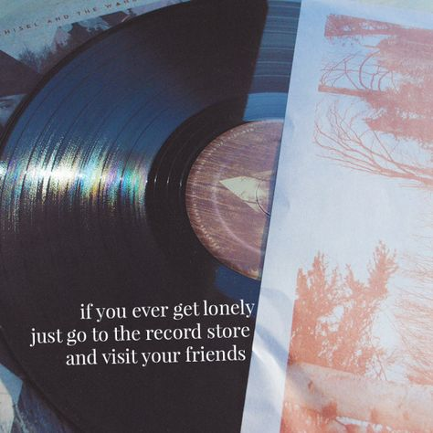 If you ever get lonely, just go to the record store and visit your friends <3 #Music #Quote