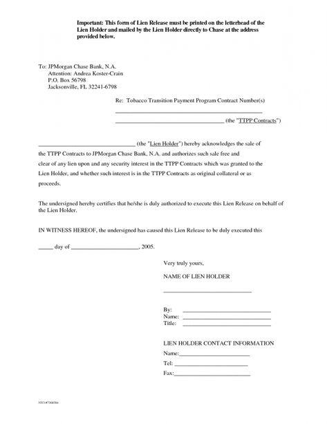 Letter Of Release Form Mechanics Lien Release Form Auto Lien auto - lien release form