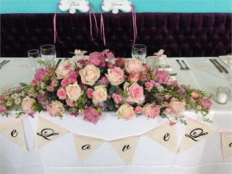 Beautiful Mix Of Roses For This Top Table Arrangement In The Ballroom At Walcot Hall