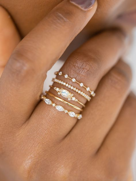 Some stacking inspiration for today- yellow gold and diamond straight bands surrounding the fantastic Moonstone Eyelet Ring This unique design also comes with a diamond or aquamarine marquise cut focal- to see all three visit Cute Rings, Pretty Rings, Unique Rings, Cute Jewelry, Silver Jewelry, Moonstone Jewelry, Jewelry Necklaces, Gothic Jewelry, Jewelry Ideas
