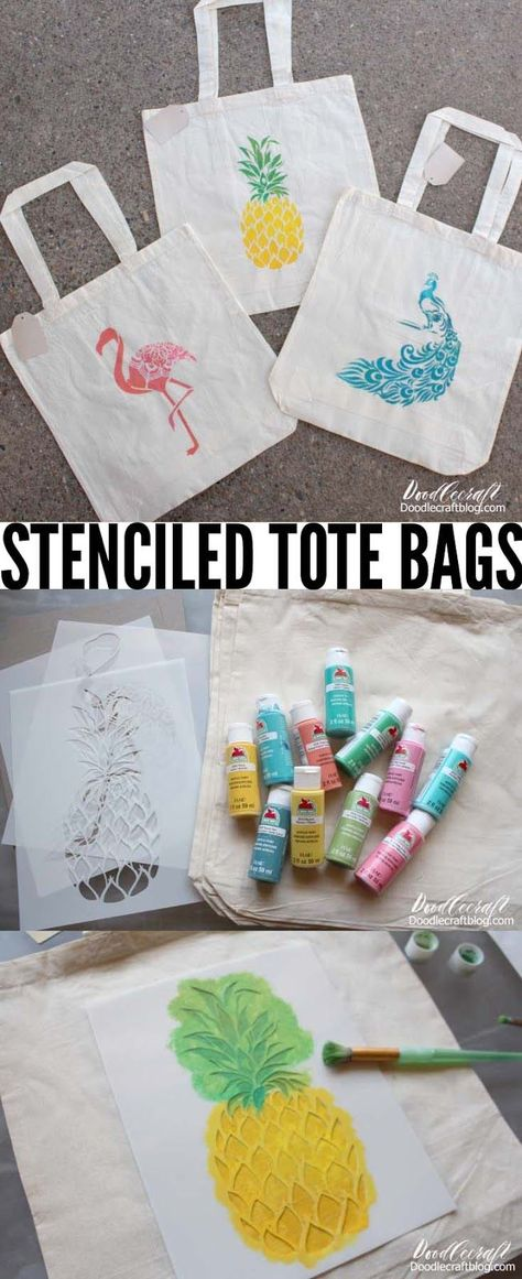 Tropical Tote Bags Summer Camp Craft with Stencil Revolution -  Need a quick craft for Summer camp or just a fun activity? Stenciling is the solution! It's easy  - #Bags #Camp #craft #craftsforgirls #craftsideas #dollarstorecrafts #revolution #stencil #summer #summercrafts #Tote #tropical