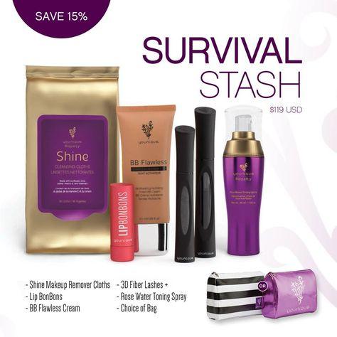 Younique Collection Survival Stash - BB Cream, Mascara, Lip Bom Bom, Rose Water