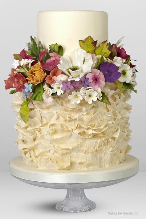 Floral ruffled wedding cake
