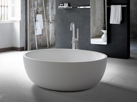 Vasca Da Bagno Centro Stanza Ovale In Solid Surface Moon By