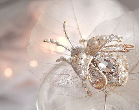Pearl brooch Beetle Brooch Exclusive Gift for Beloved One, Bug brooch Insect pin Pearl jewelry White gold Luxury Anniversary Gift for Her
