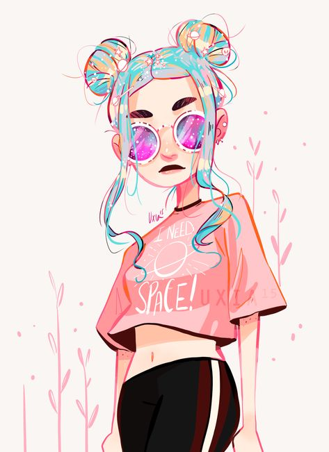 """Drawing Hairstyle uxia15draws: """" Space buns are back ~ ⭐️ """" -"""