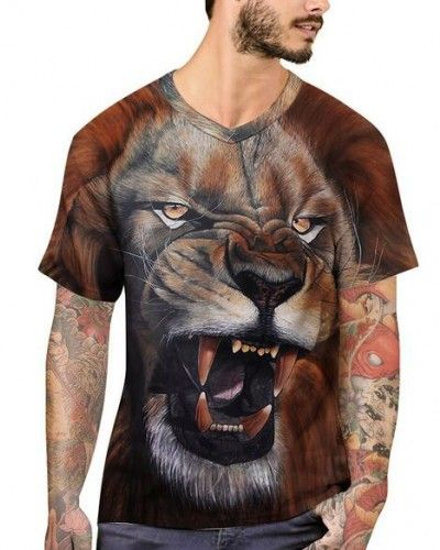 Trendy Men/'s Short Sleeve Lion Head Printed Loose T-Shirts Tee Tops Blouse