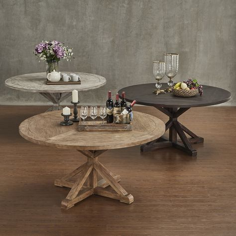 SIGNAL HILLS Benchwright Rustic X-base 60-inch Round Dining Table