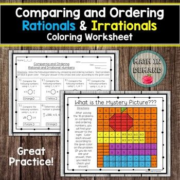 Included Is 16 Problems On Comparing And Ordering Rational And Irrational Numbers Students Will Comple Color Worksheets Math Coloring Worksheets Math Coloring