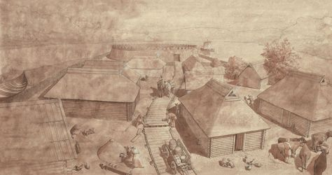 Slavic Gord around 1,000 CE by Flemming Bau