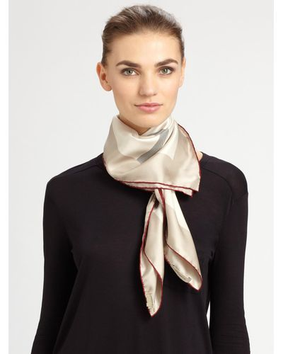 f5cbfdfcc Lyst - Burberry Silk Square Check Scarf in Natural | Black dress ...