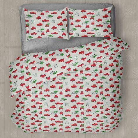 Linen Chest Little Red Truck Flannel Sheet Set And Duvet Cover Set