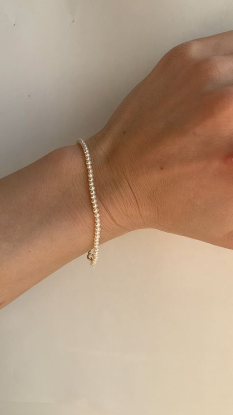 Tiny gold and pearl bracelet