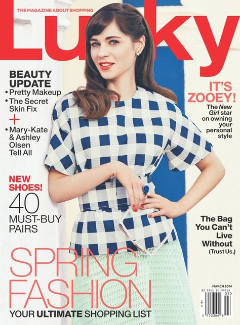 The subject on this cover is very inviting and friendly. She covers the masthead for brand confidence. The coverline matches color with other important text. The blue and white shirt matches the background creating a unity and the blurbs are generally in black providing a good contrast for an easy read.