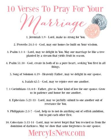 10 Verses to Pray for Our Marriage Printable