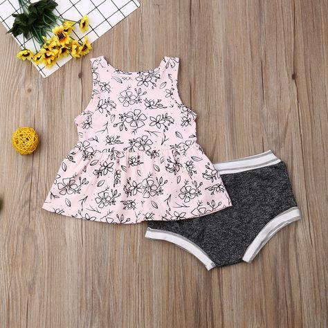Cute Set Baby Summer Sunsuit Bodysuit Kids Girls Outfits 2pcs Clothes Toddler