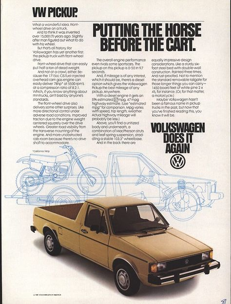 1980 Vw Volkswagen Sel Pickup Truck Red Vintage Color Photo Print Ad Ads Trucks Rabbit