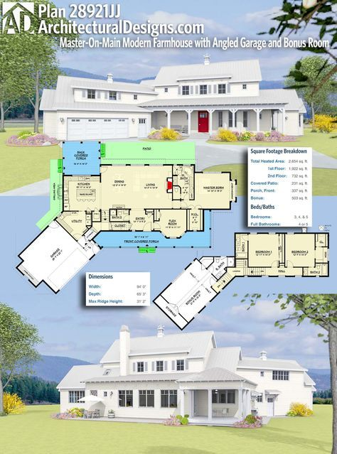 Plan 28921JJ: Master-On-Main Modern Farmhouse with Angled ... on mountain home plans and designs, home garage designs, fabric angel house designs, mountain style home designs, rambler style house designs, angled floor plan house plans, small bungalow designs, cool terraria house designs,