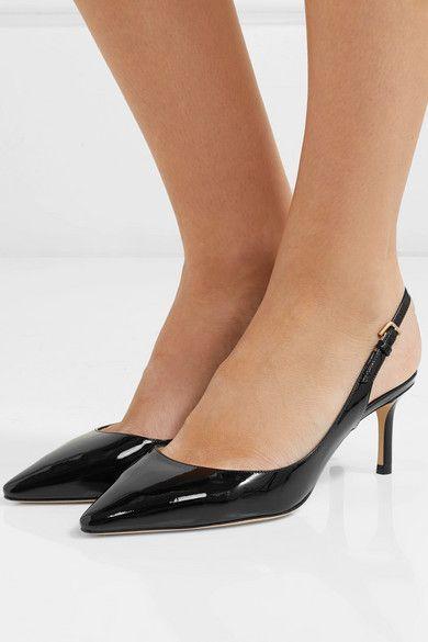 Black Erin 60 patent-leather slingback